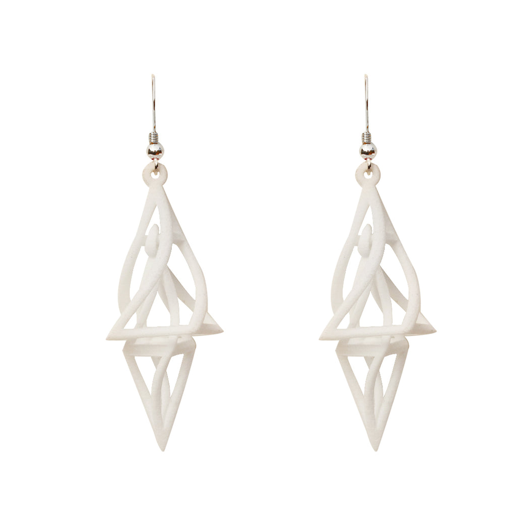 Twist 3D Printed Earrings White