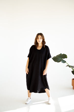 Neyla Dress in Black Bubble Gauze by Meçla