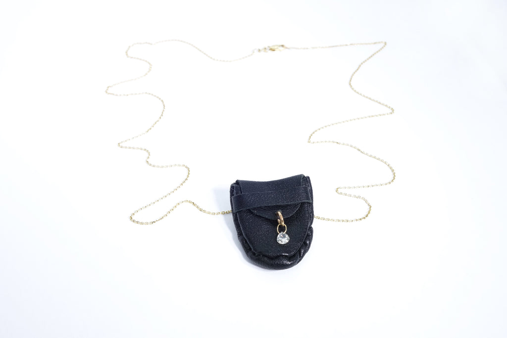 Floating Diamond Talisman Pouch Necklace