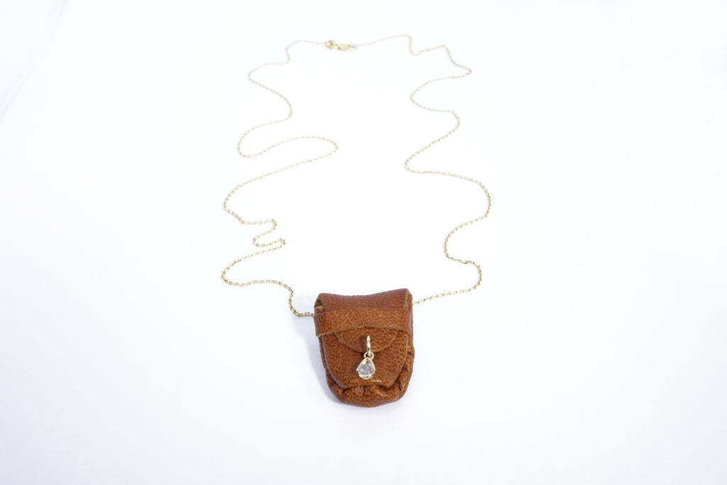 Rose Cut Diamond Talisman Pouch Necklace
