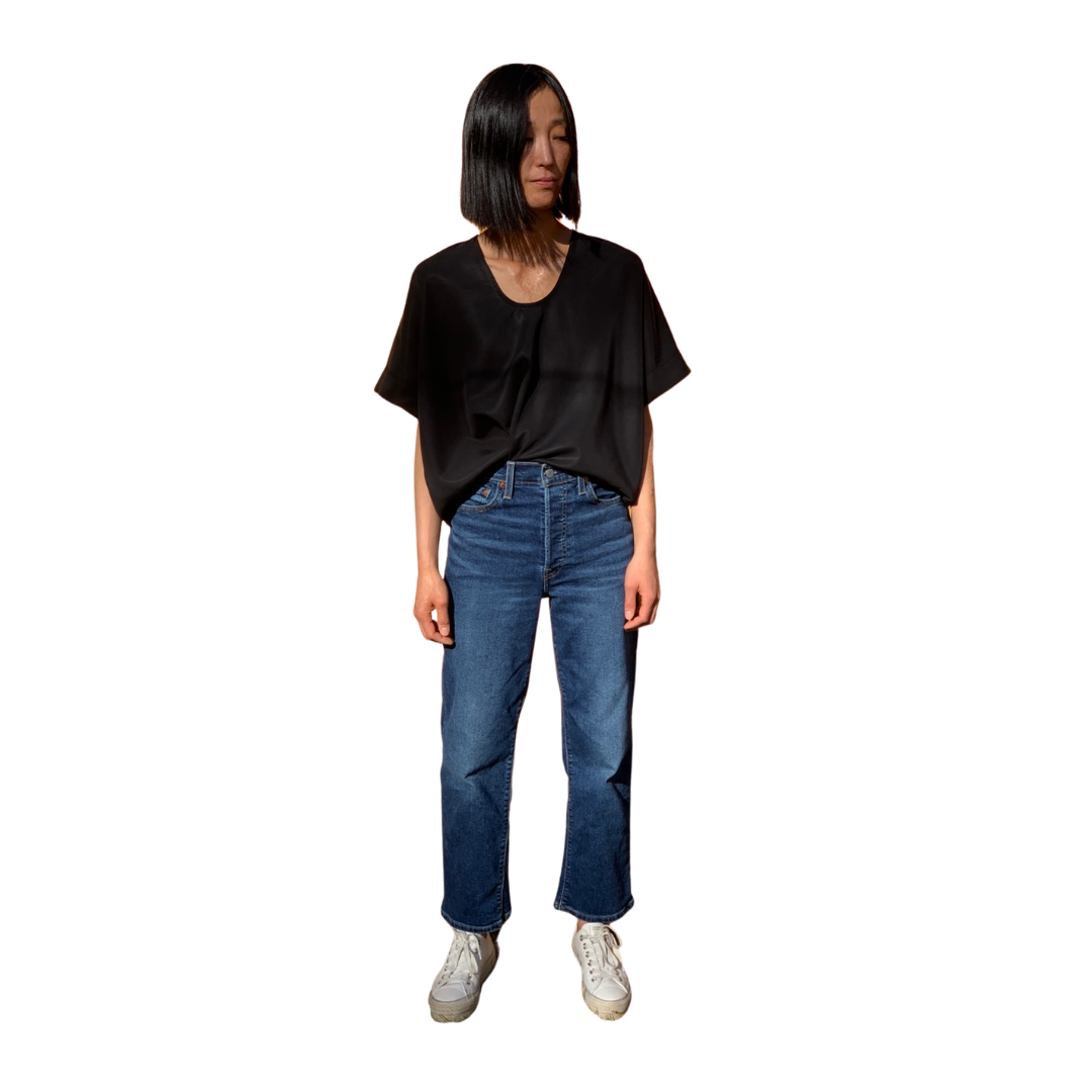 Michael Top in Black Tencel Twill