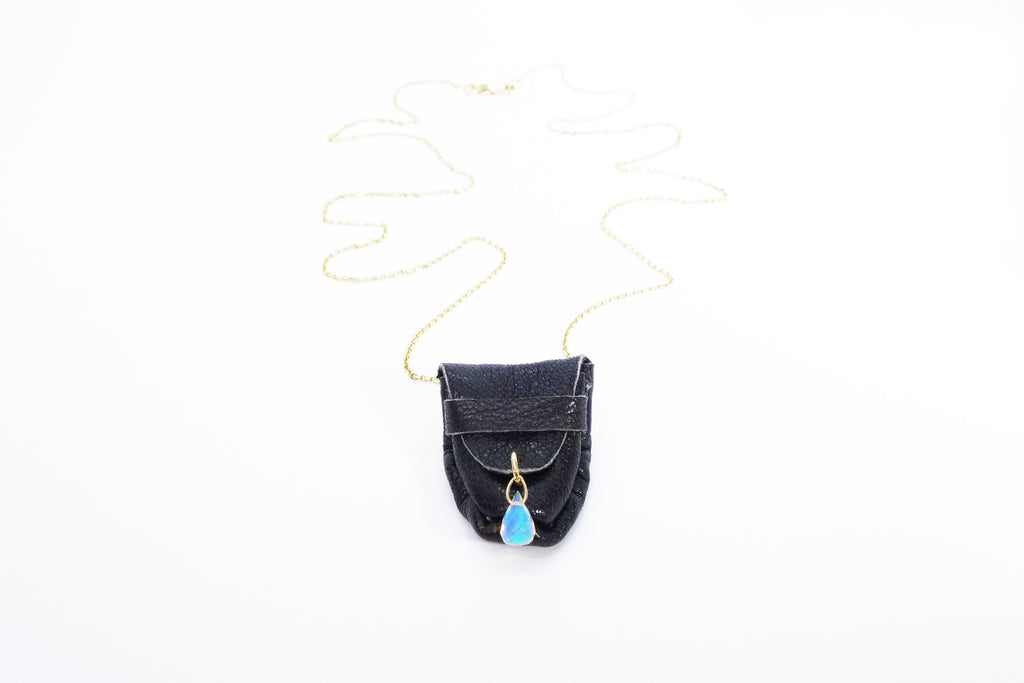 Opal Talisman Pouch Necklace