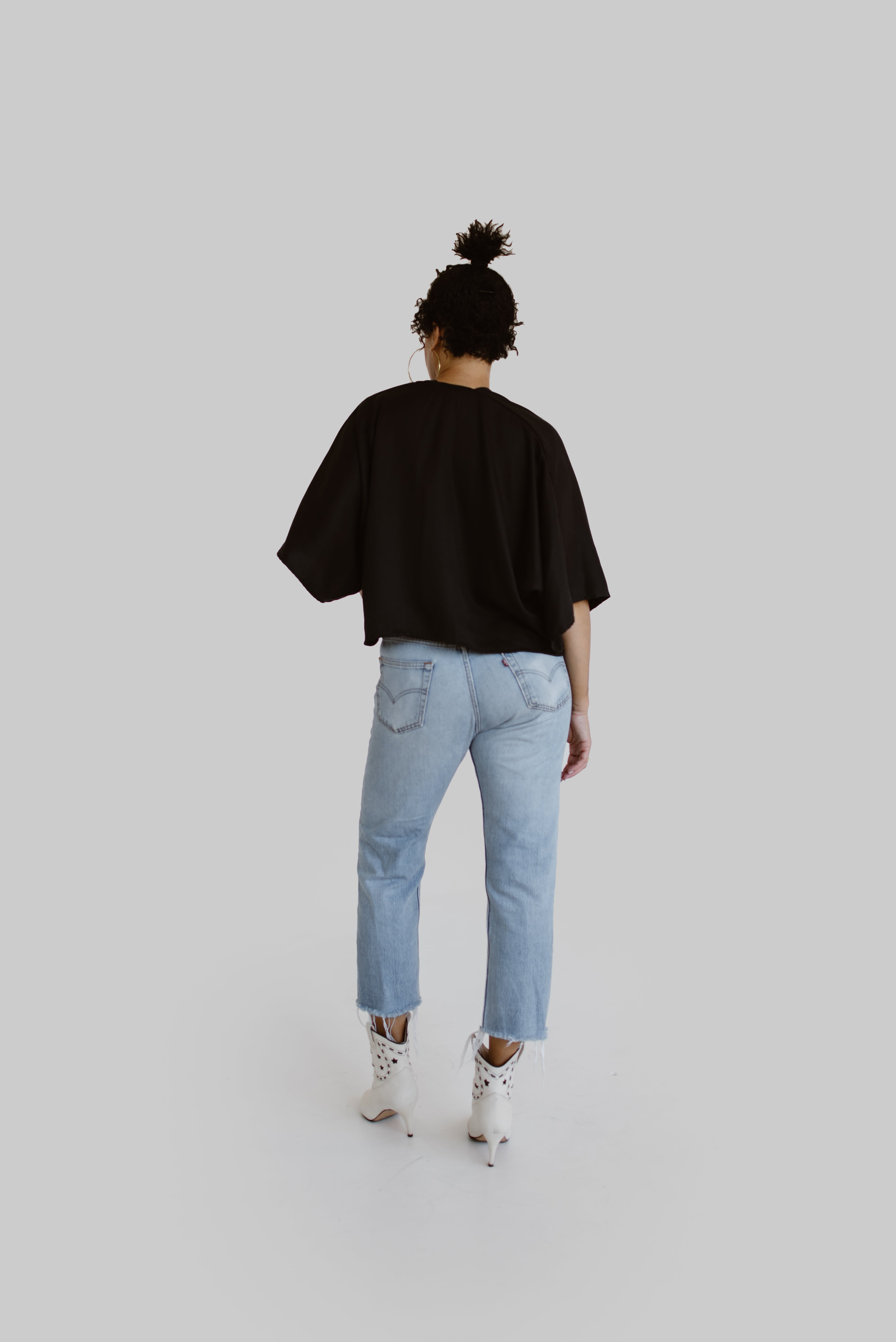 Nina Crop Top in Black Tencel Twill