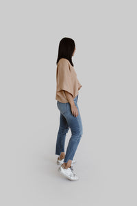 Nina Crop Top in Grandpa Tan Tencel Twill