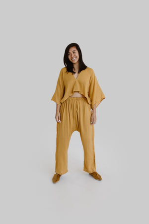 Tulene Fringe Pant in Saffron or Smoke