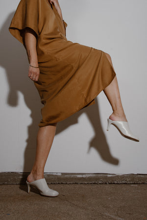 Nina Dress in Toffee Tencel