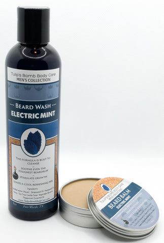 Electric Mint Beard Balm + Wash Set