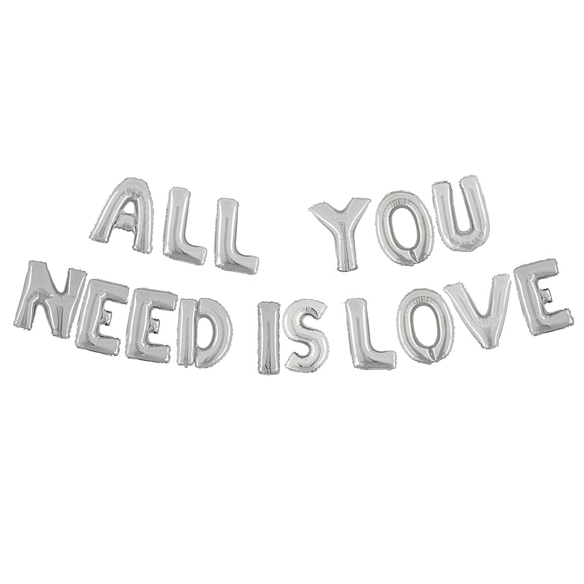 Silver All You Need Is Love Air-Filled Balloon Banner Kit.