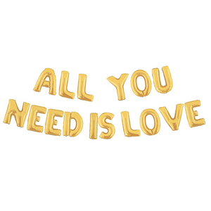 Gold All You Need Is Love Air-Filled Balloon Banner Kit.