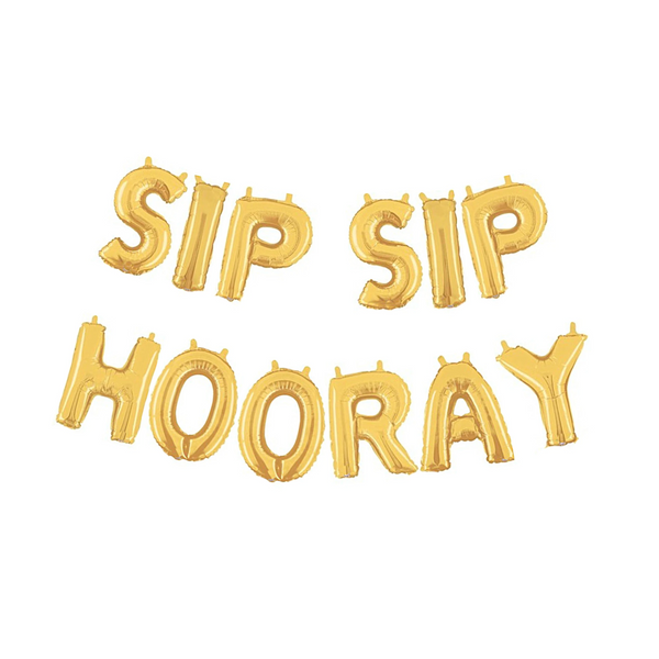 Gold Sip Sip Hooray Air-Filled Balloon Banner Kit.
