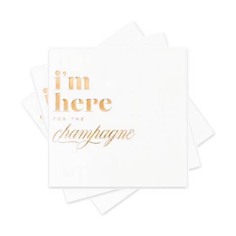 I'm here for the champagne white cocktail napkins available at Uncommon Party Co.