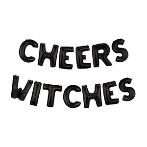 Black Cheers Witches Air-Filled Balloon Banner Kit.