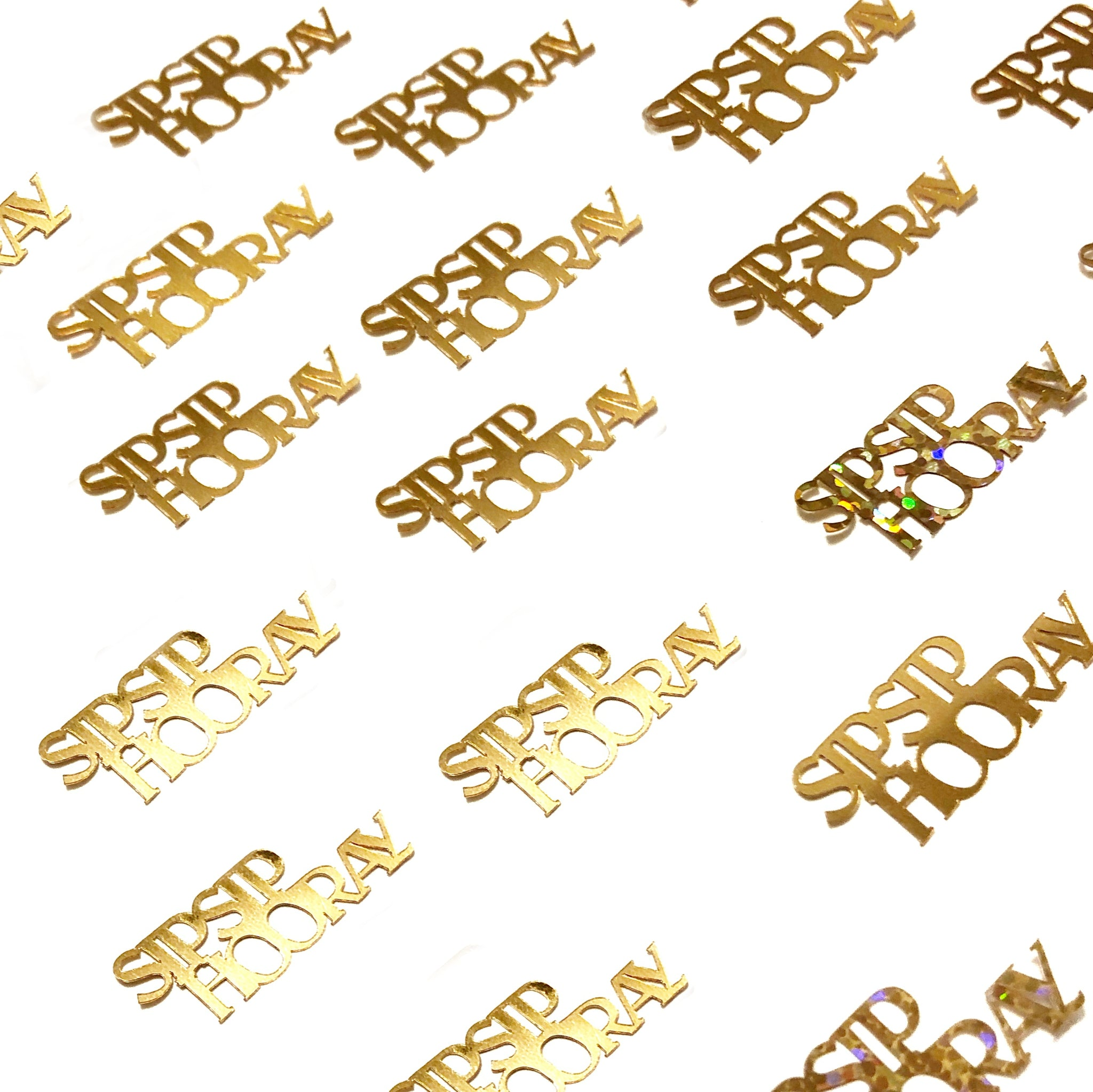 Sip Sip Hooray gold table confetti.