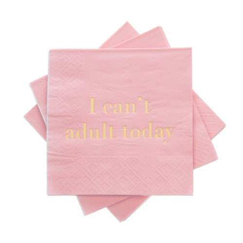 I can't adult today pink cocktail napkins available at Uncommon Party Co.