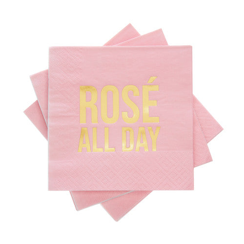 Rose all day pink cocktail napkins available at Uncommon Party Co.