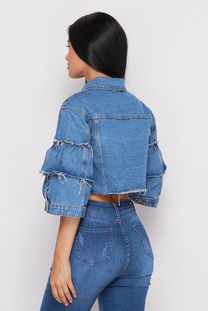 Ruffle Blue Jean Jacket