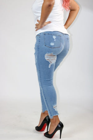Women high wasted destroyed denim skinny jeans high wasted but lifting ripped zipper