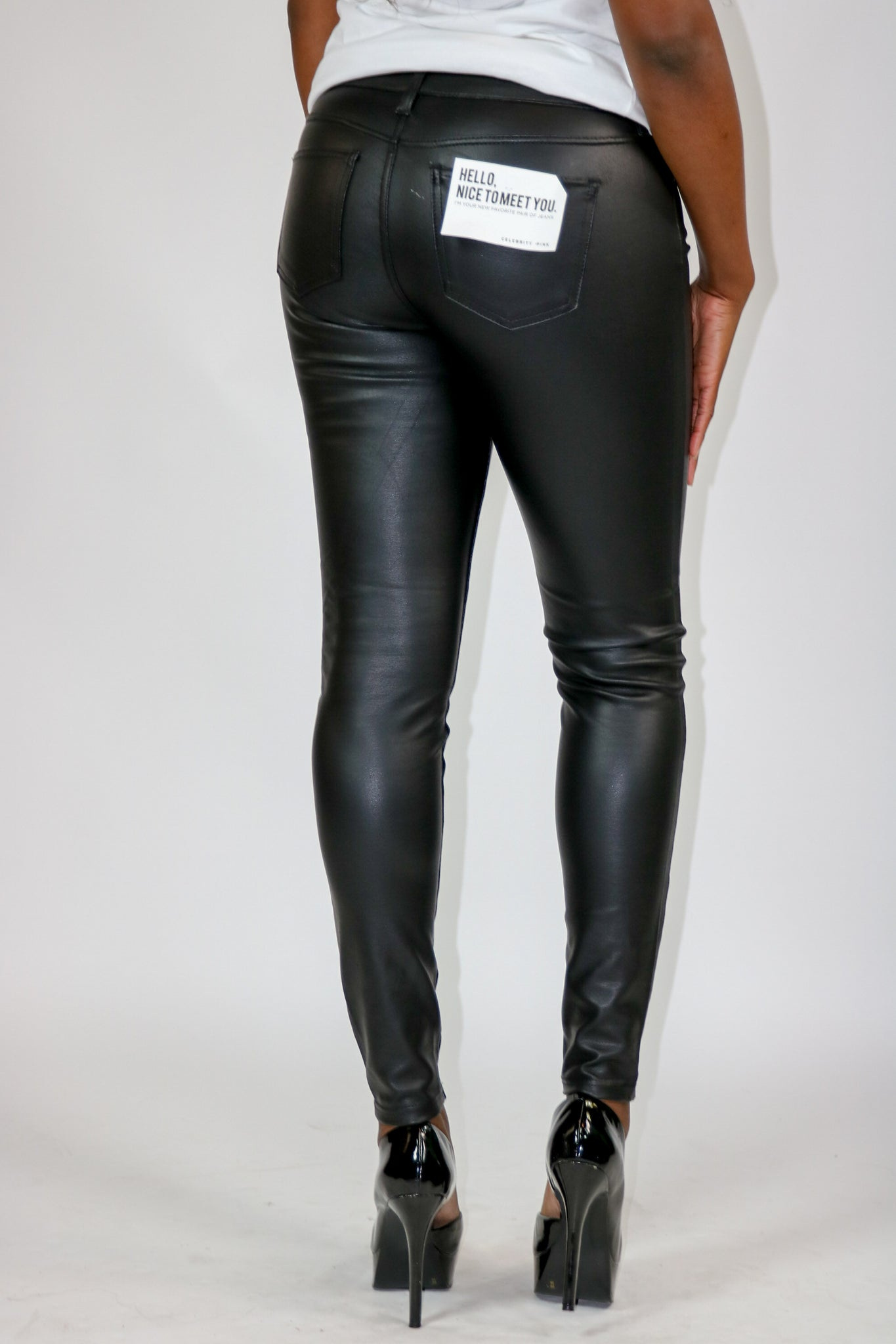 Vegan leather mid rise skinny