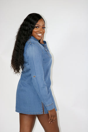 Women's chambray denim dress/shirt 100% cotton