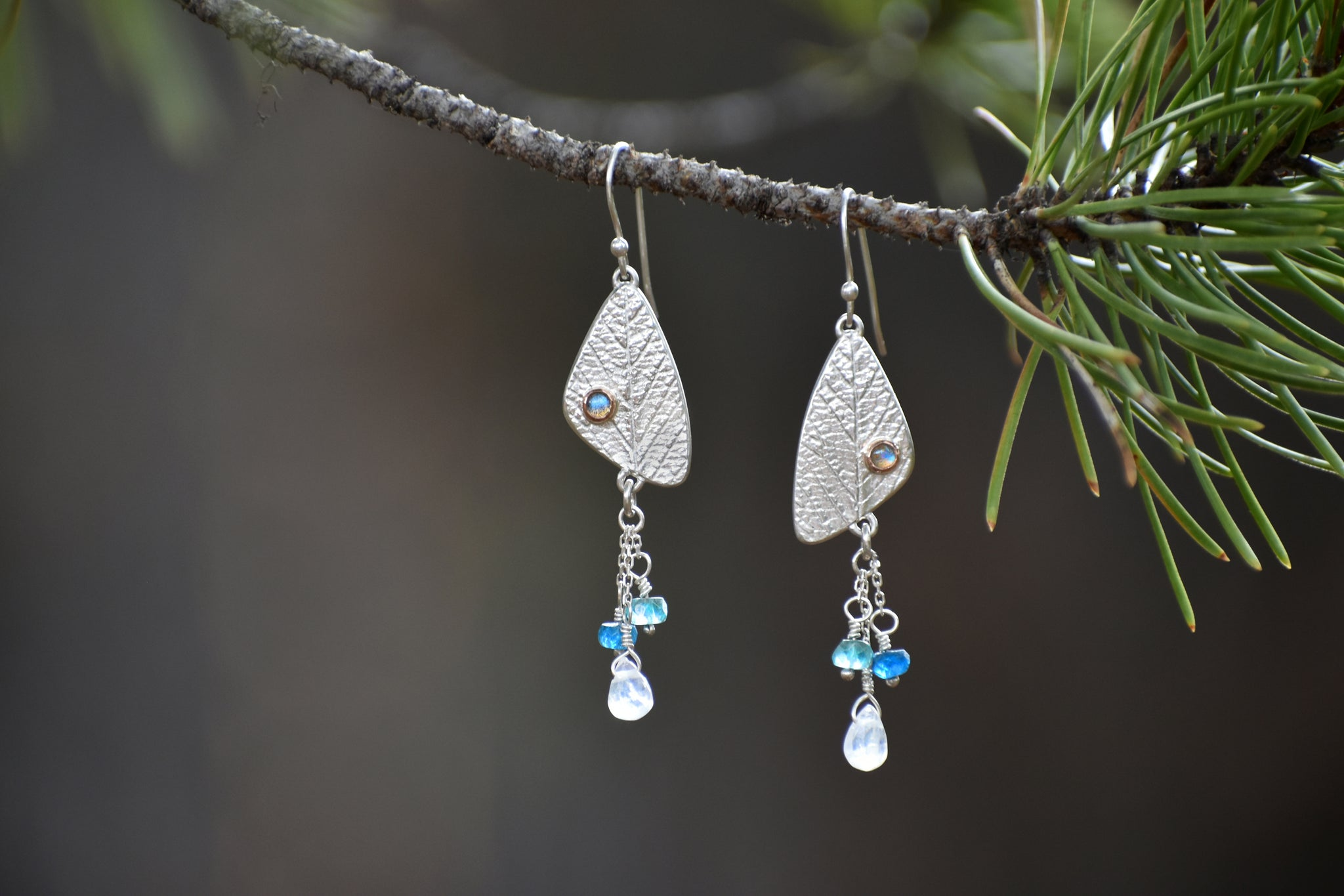 Leaf Earrings with Stones