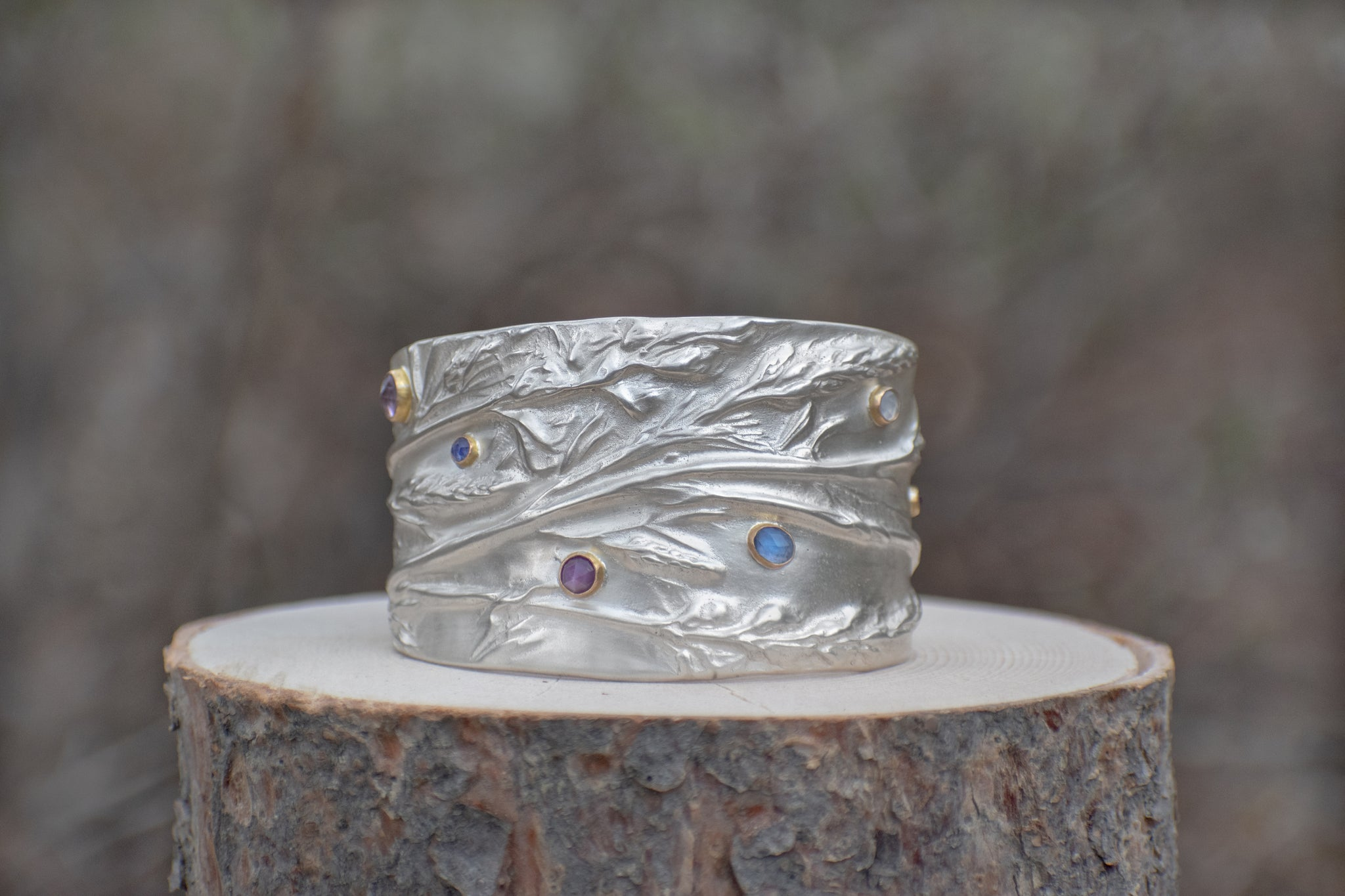 Lupine Statement Cuff with Stones
