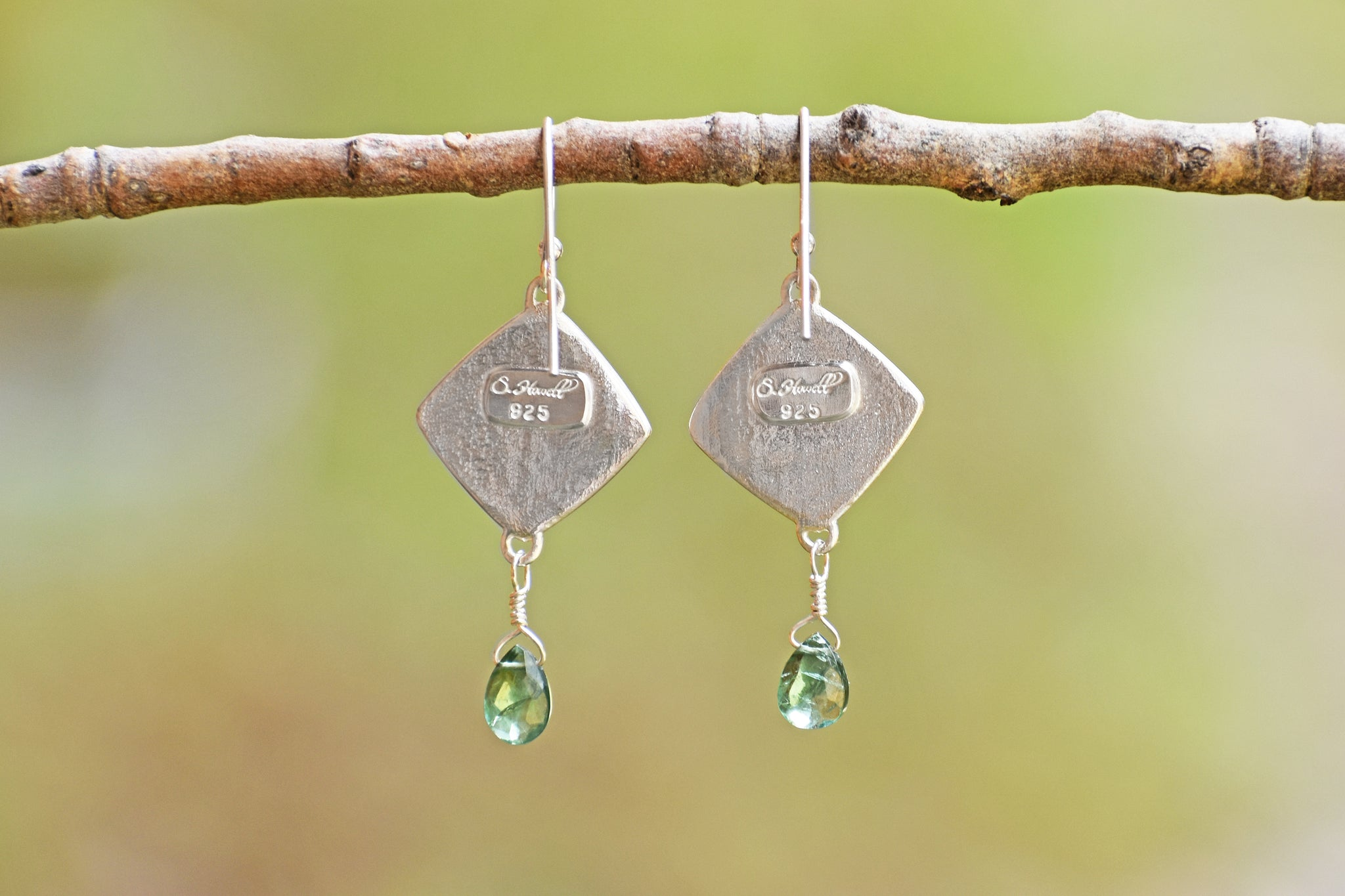Square Leaf Earrings with Edging