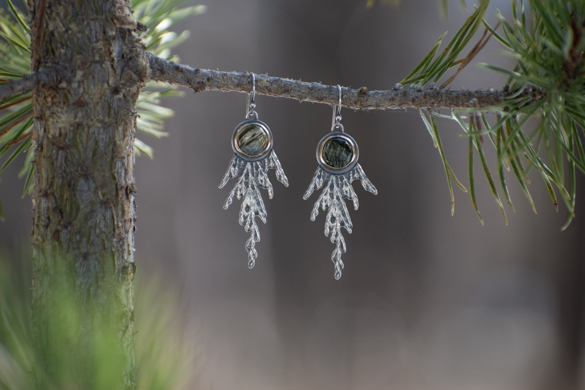 Cedar Earrings with Green Rutile