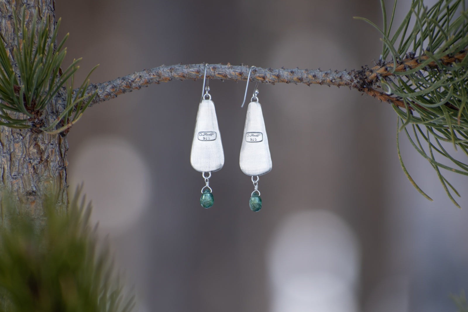 Cedar Earrings with Green Apatite
