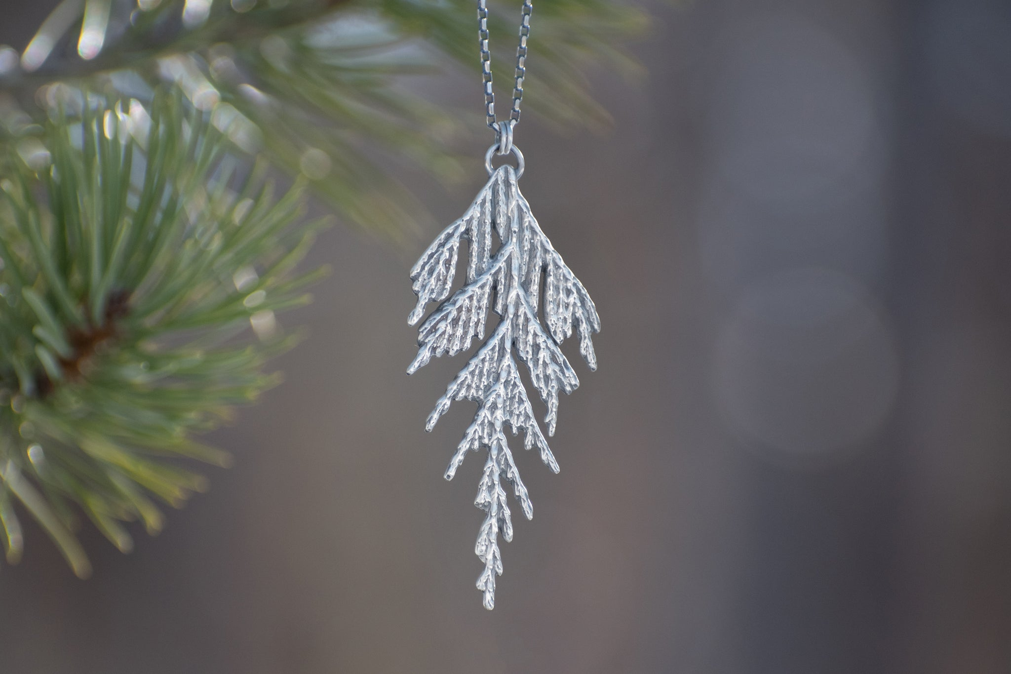 Handmade sterling silver cedar necklace