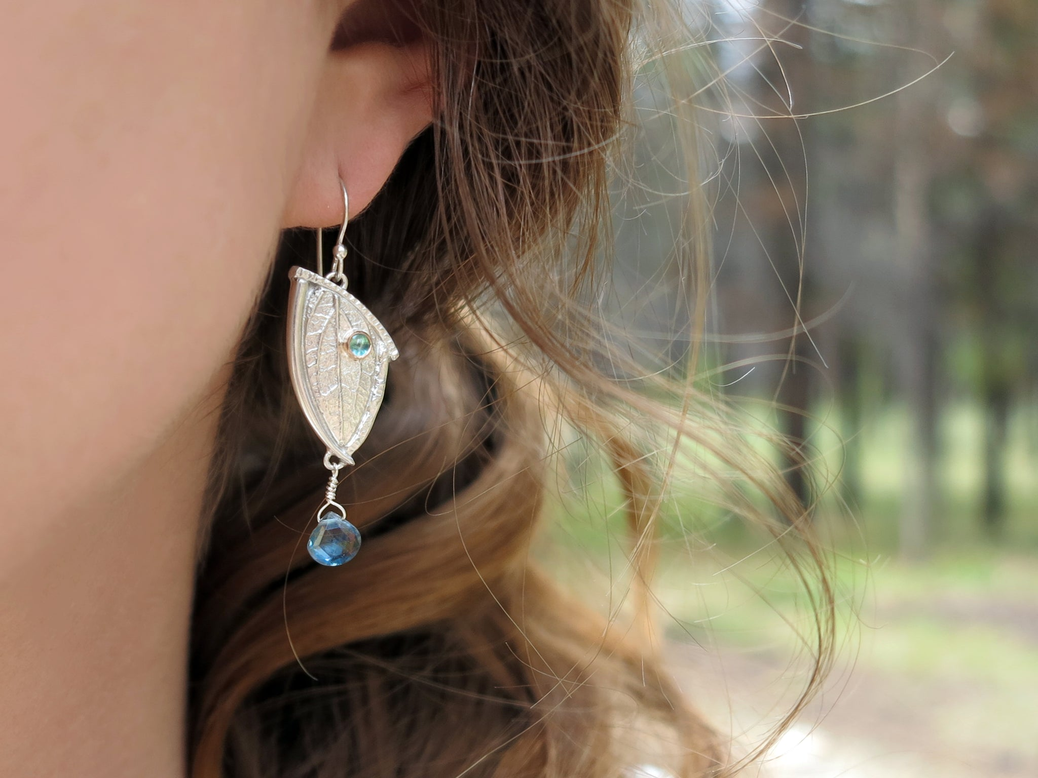 Bordered Leaf Earrings