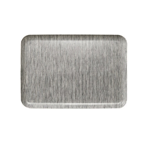 Linen Tray Grey Thin White Stripe