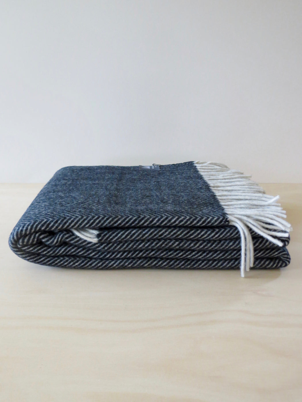 Herringbone Merino Wool Throw Storm