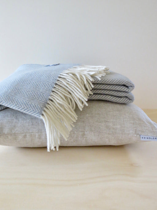 Herringbone Merino Wool Throw Frost