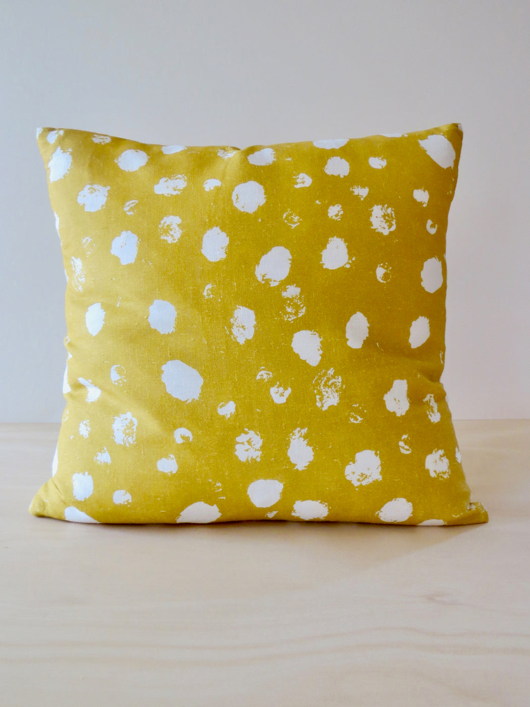 Leo linen cushion cover, Mustard