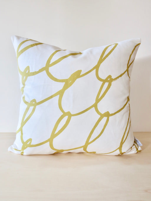 Lykke linen cushion cover, Mustard