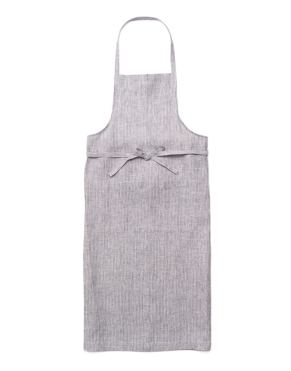 Full Apron Grey Thin White Stripe