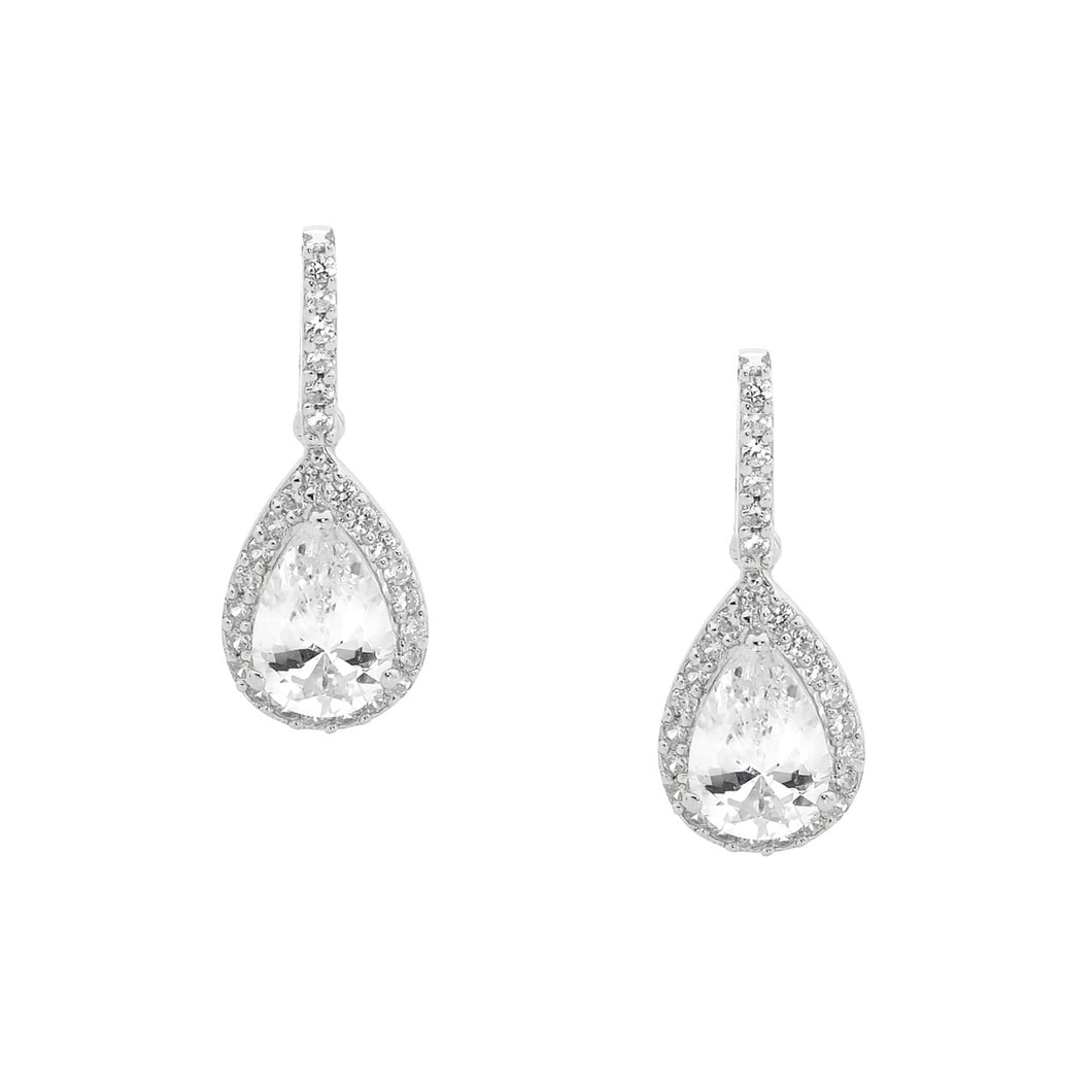 Pear Shape CZ Drop Earrings