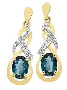 9ct Yellow Gold London Blue Topaz and Diamond Earrings