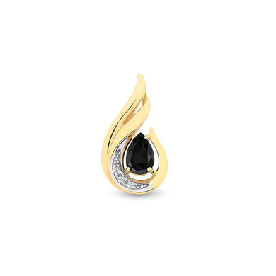 9ct Yellow Gold Black Spinel Pendant