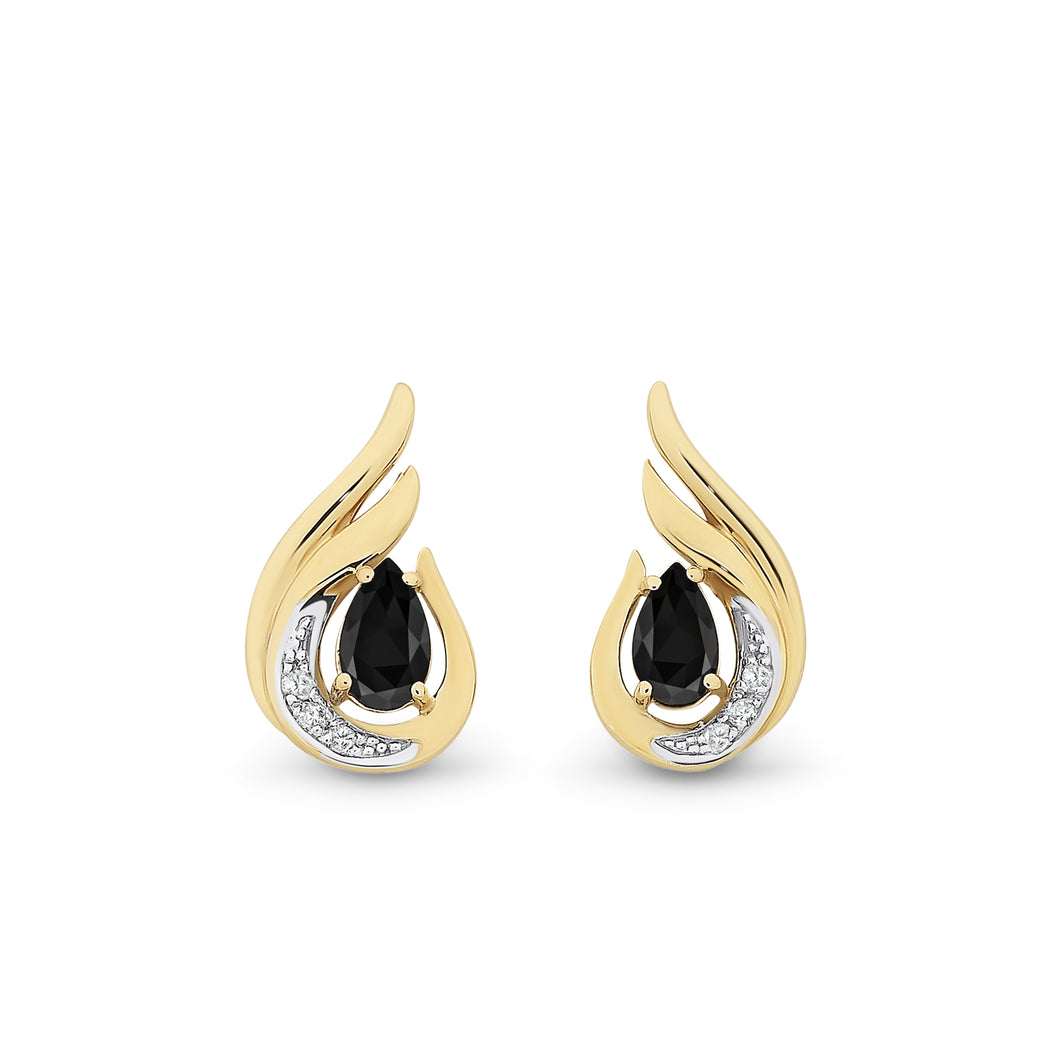 9ct Yellow Gold Black Spinel Earrings