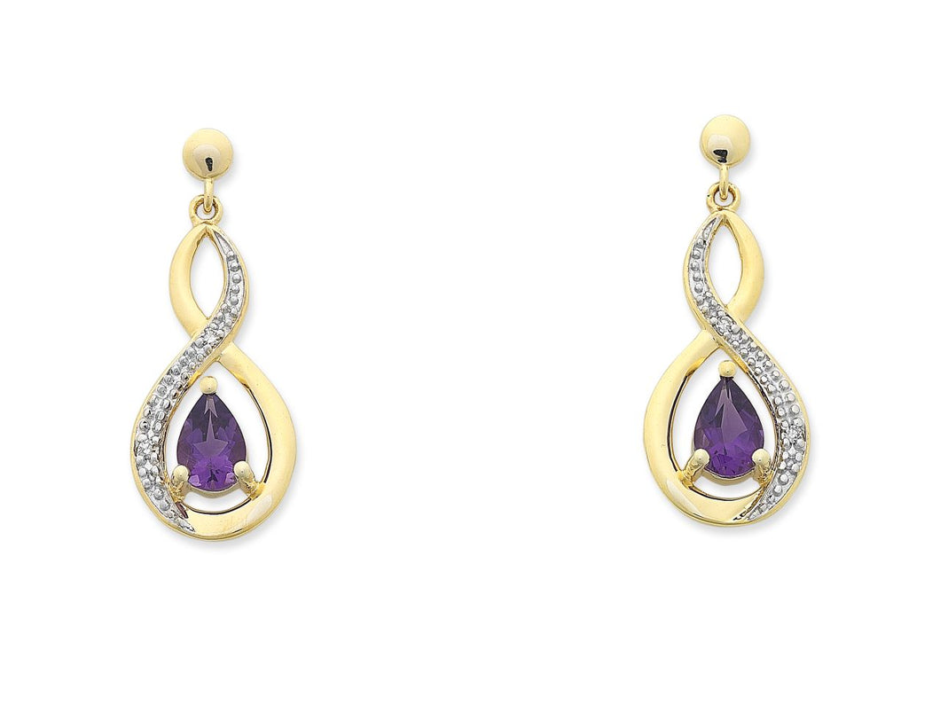 9ct Yellow Gold Amethyst and Diamond Earrings