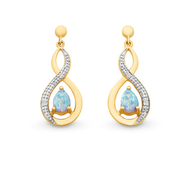 Created Opal & Diamond Earrings