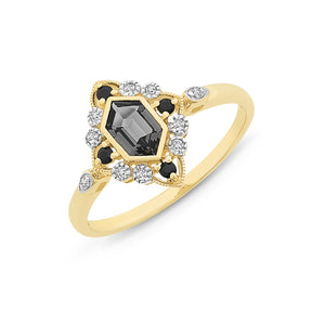 Created Nano Gem with Sapphire and Diamond Ring