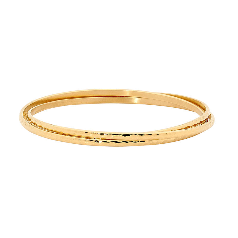 Steel Gold Plated Hammered Bangle