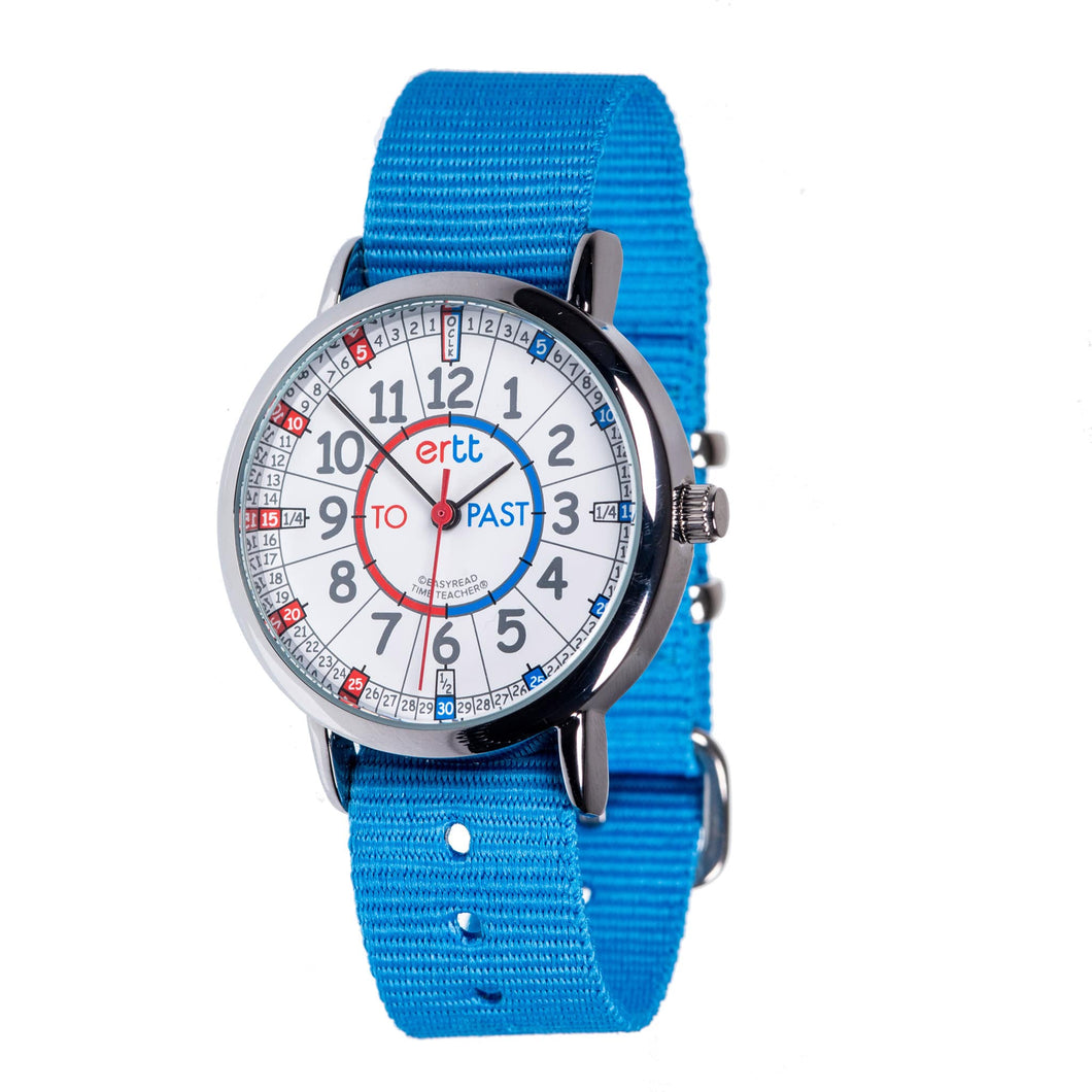 Light Blue Strap Blue Red Dial