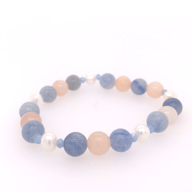 Blue and Peach Aventurine & Pearl