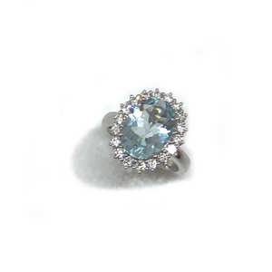 Oval Aquamarine & Diamond Halo Ring