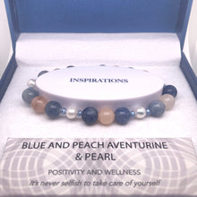 Load image into Gallery viewer, Blue and Peach Aventurine & Pearl