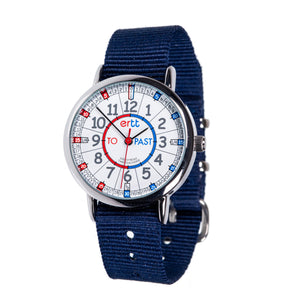 Navy Blue Strap Blue Red Dial