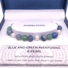 Load image into Gallery viewer, Blue & Green Adventurine & Pearl